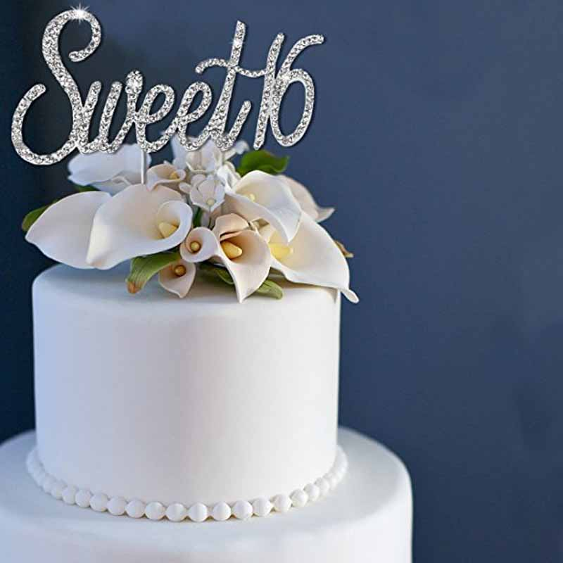 Enjoyable Rhinestones Sweet 16 Cake Topper Boy Girl 16Th Birthday Party Funny Birthday Cards Online Chimdamsfinfo
