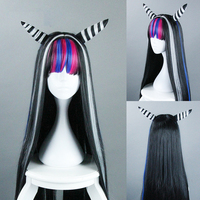 Danganronpa 2 Cosplay Wig Mioda Ibuki Long Straight Black Mixed Colors Synthetic Hair for Adult