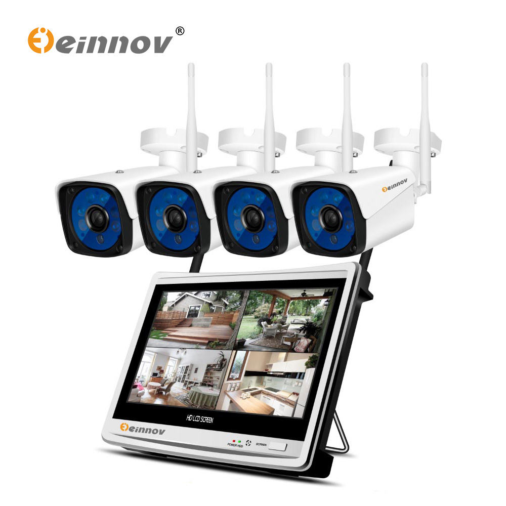 einnov 4ch 1080p wireless security cctv ip camera system nvr monitor wifi video surveillance kit. Black Bedroom Furniture Sets. Home Design Ideas