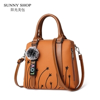 SUNNY SHOP Printing Bags For Women PU Leather Handbags With Plush Ball Charm Brown Pink Women