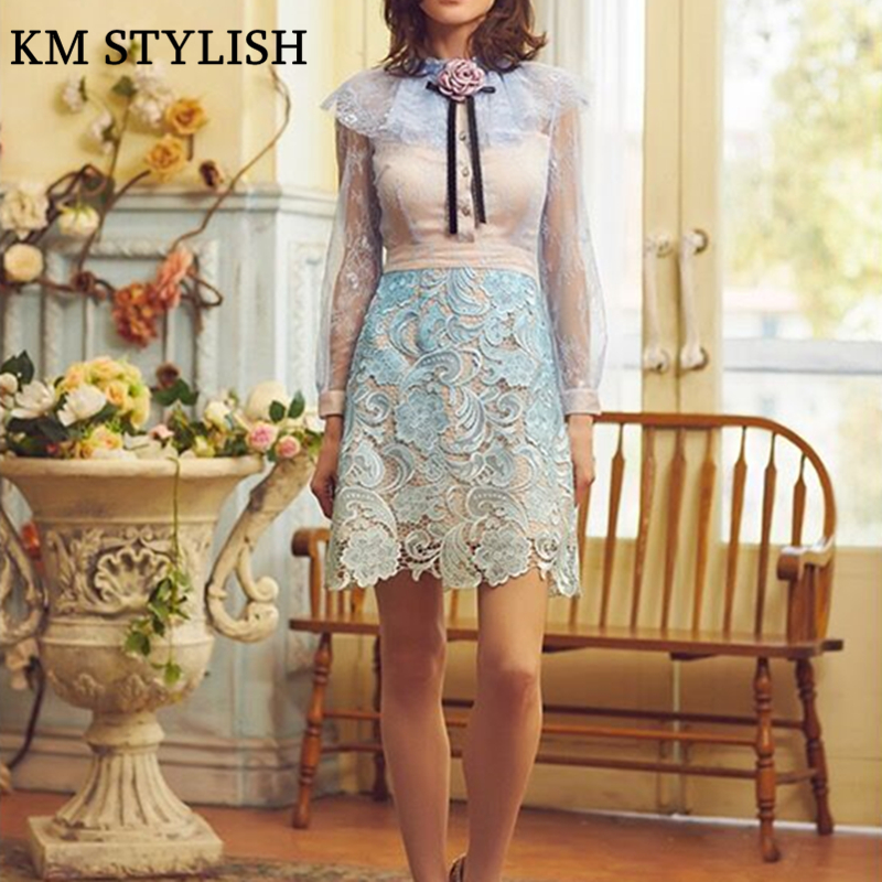 Elegant Princess Ruffle Dress Slim Waist Long sleeve Water soluble Lace Appliquess One piece Dress With Flower Sky Blue