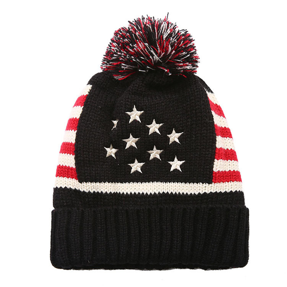 d93aeed5603 2019 American UK Flag Beanie Hat Winter Warm Wool Knitted Caps For ...