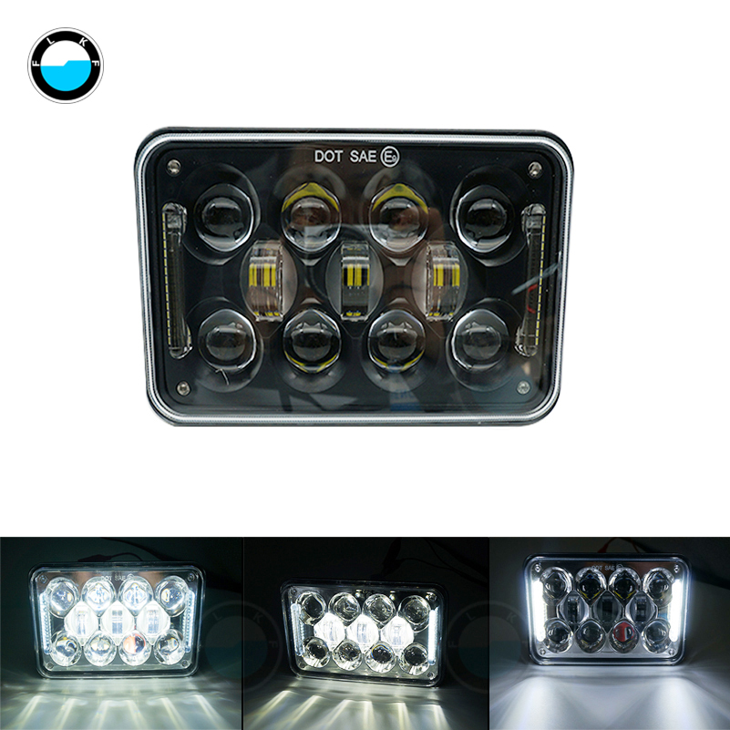 4x6 inch DOT Approved HeadLamp Square 5 60W Led Work Hi/Lo beam Light Truck Light System For Ford Mustang