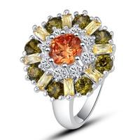 lingmei Wholesale Round Cut Morganite Peridot  White Sapphire 925 Silver Ring Size 7 8 9 10 11 12 Alluring Jewelry Gift