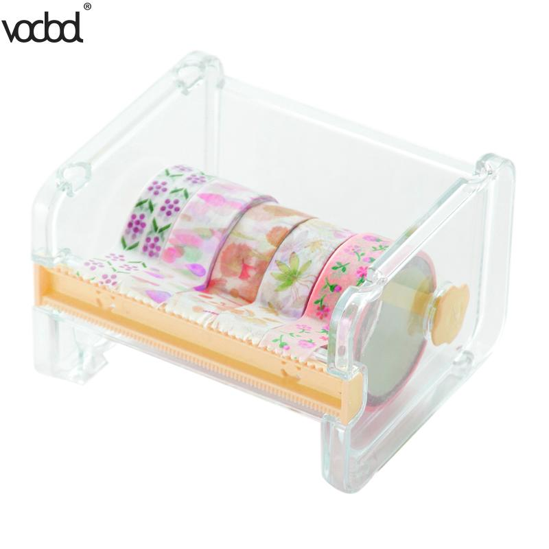 Simple Creative Yellow Adhesive Tape Dispenser Office Desktop Washi Tape Holder With Tape Cutter Office Tape Dispenser Supplies