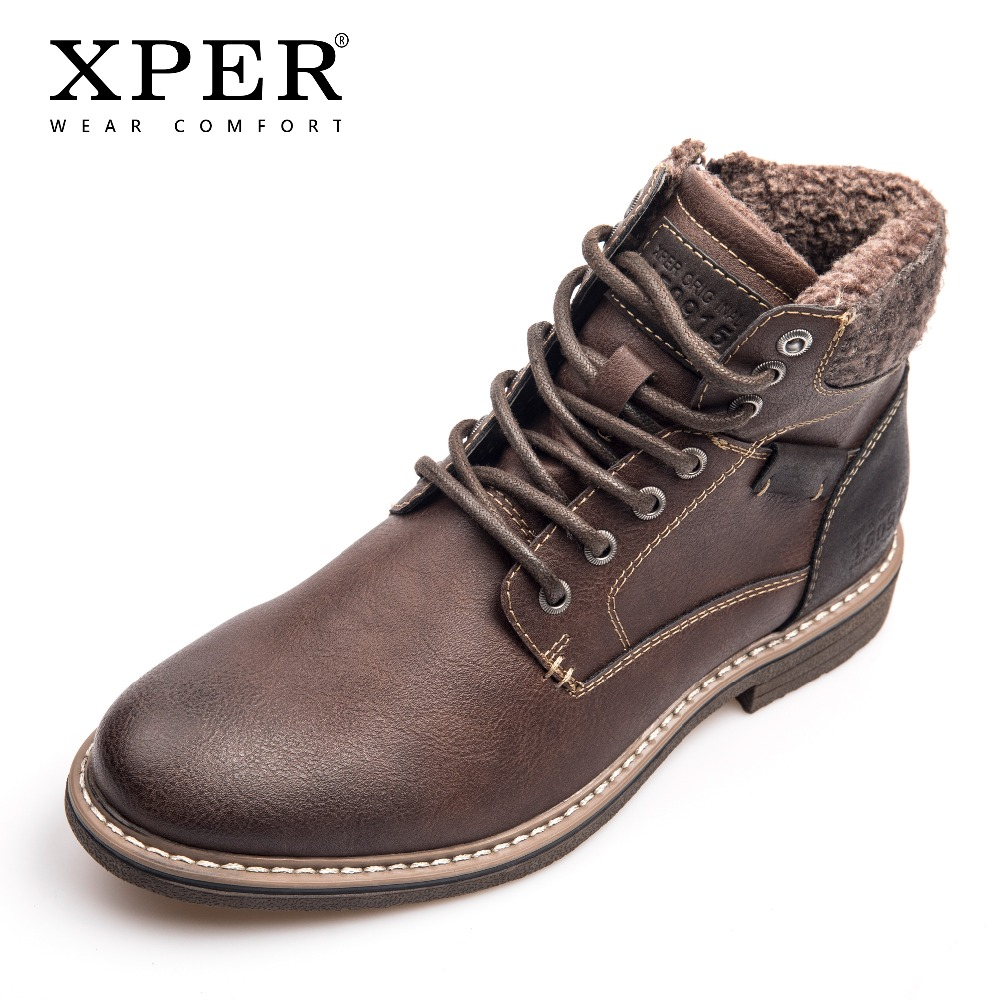 XPER Brand Waterproof Motorcycle Boots Men Lace-Up Winter Shoes Warm Plush Comfort Footwear Leather Mens Boots Casual #XHY12604