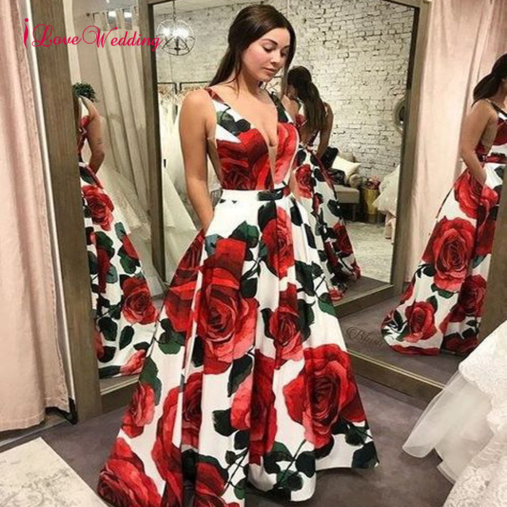 New Arrival 2019 Floral Evening Dresses Robe De Soiree V Neck A Line Sexy Cross Back Floor Length Formal Evening Gowns
