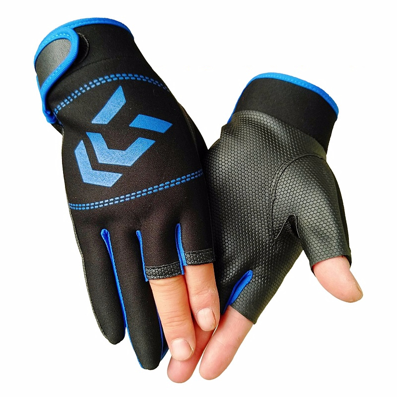 Summer 3 Finger Cut Fishing Gloves Non-slip Fishing Protective Gloves Outdoor Sports Gloves for Men Hiking Pesca Tackle