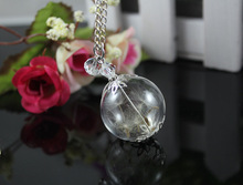 Handmade Real Dandelion Seed Pendant Necklaces Women Antique Glass Ball Globe Pendant With Crystal Pendants Jewelry