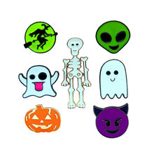 2018 new Cartoon Cute Ghost Skeleton Pumpkin Head Witch Brooch Pins Button Pins Fashion Charming Jewelry For Halloween Gift(China)