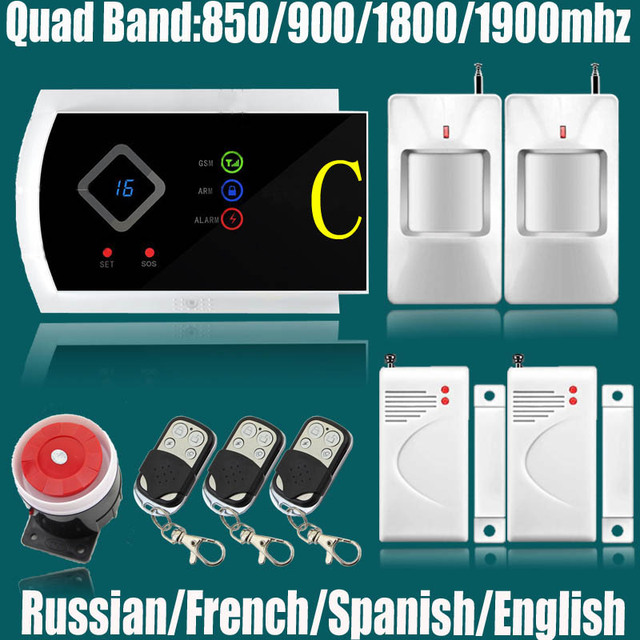 English/Russian/Spanish/French Wireless wired Home Security GSM Alarm System with IOS Android APP Remote Control Alarm system