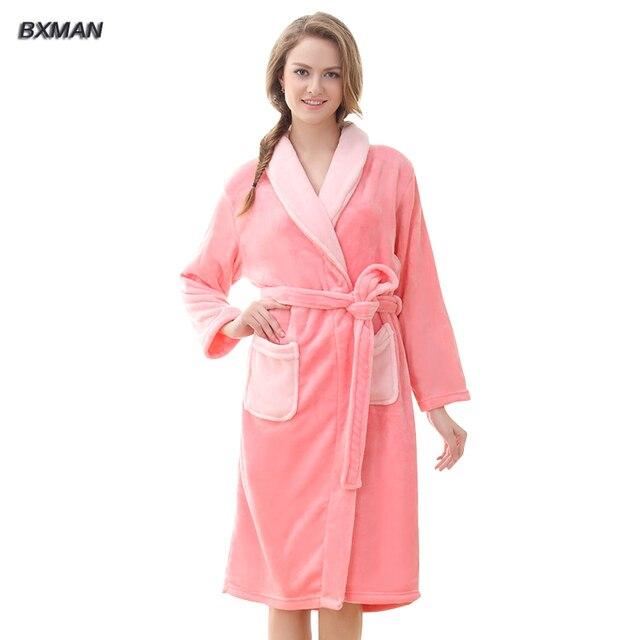 6c57c89e99e8 BXMAN Brand Warm Winter Robe Women 100% Polyester Solid Women Flannel  Bathrobes Winter Casual Bathrobes Women Homewear Robes