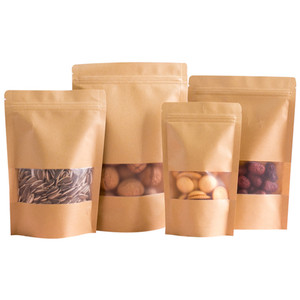 Image 1 - Wholesale Stand up Kraft Paper Frosted Window Zip Bags Doypack Sugar Biscuit Nuts Chocolate Coffee Self Sealing Packaging Bags
