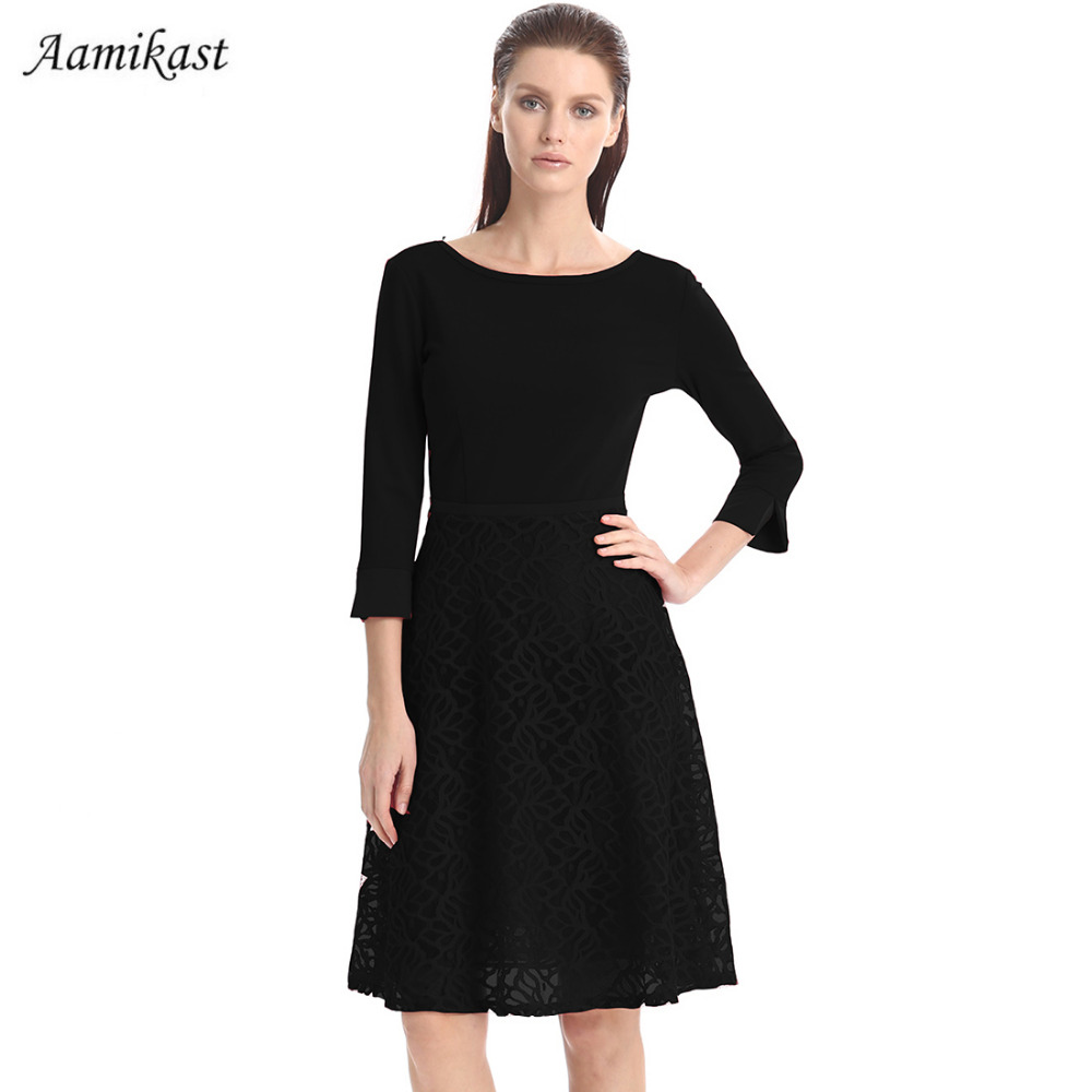 Women Dresses Lace With Lining Elegant New Fashion 2018 O-neck 3 4 Sleeve  Loose Vintage Party Evening Business Dresses f12e92aef496