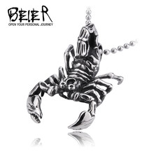 BEIER 316L Stainless Steel 3D Animal Scorpion Pendant Necklace fashion jewelry For Man free shipping BP8-134(China)