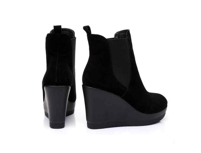 GKTINOO hakiki deri ayak bileği topuk çizmeler sonbahar/kış tarzı yarım çizmeler kadın botları için takozlar çizme kadın ayakkabısı