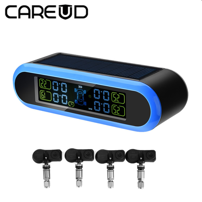 CAREUD Solar Energy TPMS LCD Display Car Wireless Tire Tyre Pressure Monitoring System 4 internal Sensors For 4 wheels Cars careud tpms car wireless tire pressure monitoring system lcd display with 4 internal sensors for peugeot toyota and all cars