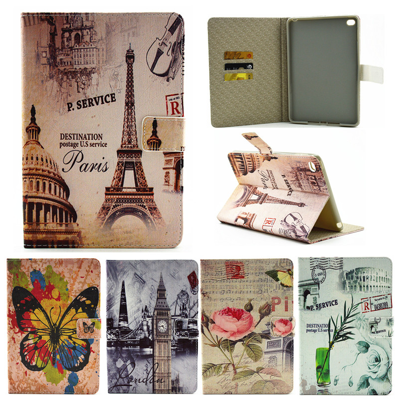 For Ipad Mini4 Paris Eiffel Tower Flower PU Leather Case For Apple iPad Mini 4 Case Stand Protector Skin Tablet Cover Fundas for apple ipad mini 4 tablet case pu flip leather stand cartoon animal owl cat cover for ipad mini 4 fundas coque