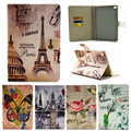 For Ipad Mini4 Paris Eiffel Tower Flower PU Leather Case For Apple iPad Mini 4 Case Stand Protector Skin Tablet Cover Fundas