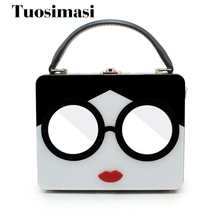 large tote bag plastic women handbag clutch bag cartoon girl shoulder bag hard box with mirror glasses