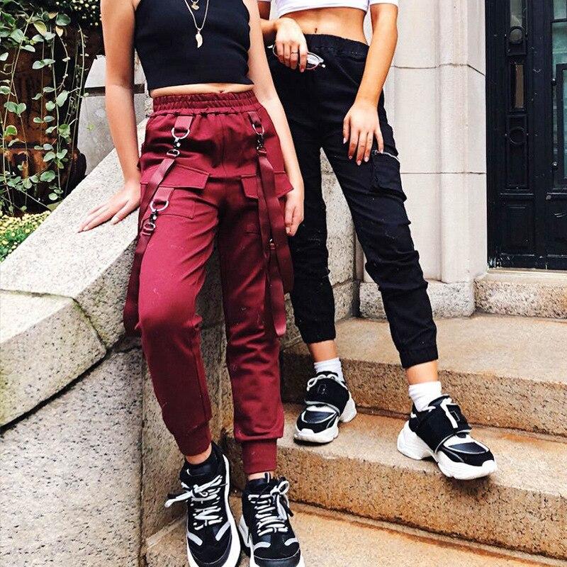 HOUZHOU 2019 New Cargo Pencil Pants Solid Pocket Ankle Length Trousers Women Streetwear Jogger Mujer Hip Hop Punk Vintage Slim