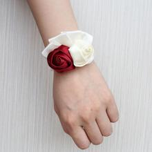6piece/lot Wrist Corsage Ivory Rose Flower On The With Lace Bridesmaid Bracelet Silk Satin Wedding Party SW1317-J