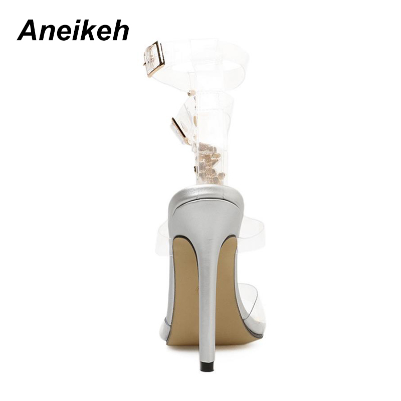 06dd15f214da Aneikeh 2018 New Silver Women s Sandals Sexy PVC Transparent Gladiator  Sandals Woman Open Toe T strap Rhinestone High Heel Shoe -in High Heels  from Shoes on ...