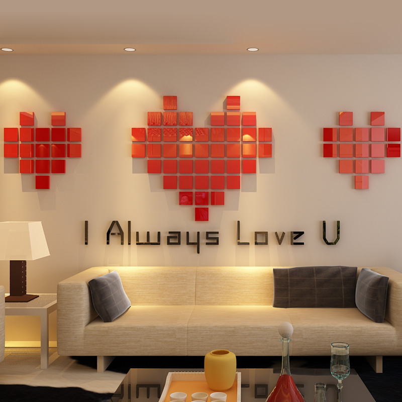 Romantic Mosaics Hearts Design Acrylic Stickers Diy Love Living Room