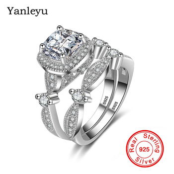 Yanleyu 2pcs Princess Square Cubic Zirconia Wedding Bands Ring Set for Women 925 Sterling Silver Engagement Jewelry Ring PR220
