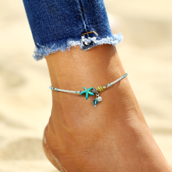 IF ME Fashion Bohemian Imitation pearls Starfish Charms Bracelets Anklets For Women Summer Foot Chain Shell Jewelry Gift 1