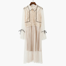 Autumn New Style Women Fashion Sweet Petal Sleeve Gauze Dress Female Casual Lace Two-piece Dresses Fairy temperament Hot Sale