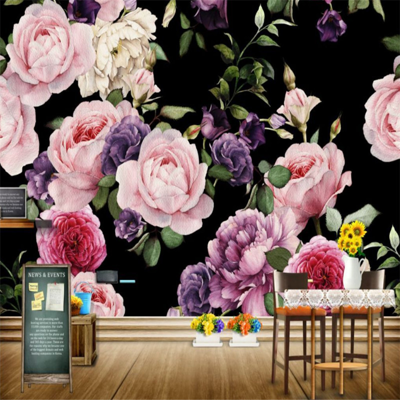 custom modern any size 3d photo non-woven wallpaper wall murals 3d wallpaper hand-painted rose TV sofa wallpaper home decor  custom mural wallpaper 3d non woven black and white flower hand painted paintings living room sofa tv 3d wall murals wallpaper