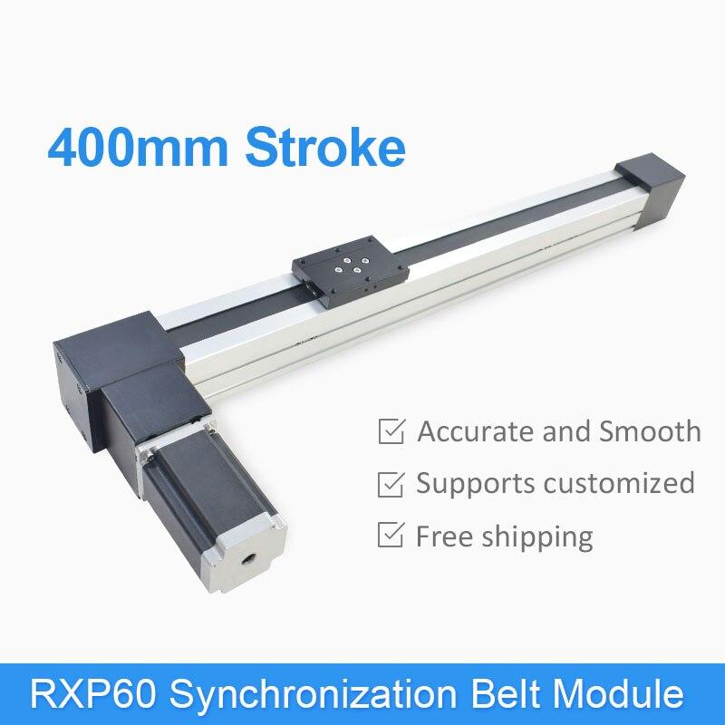 RXP60 haute vitesse 400mm entraînement par courroie CNC linéaire Guide Rail glissière Table pas à pas moteur pas à pas