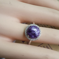 New fashion S925 silver inlaid natural crystal purple ring retro hot spot recommended female