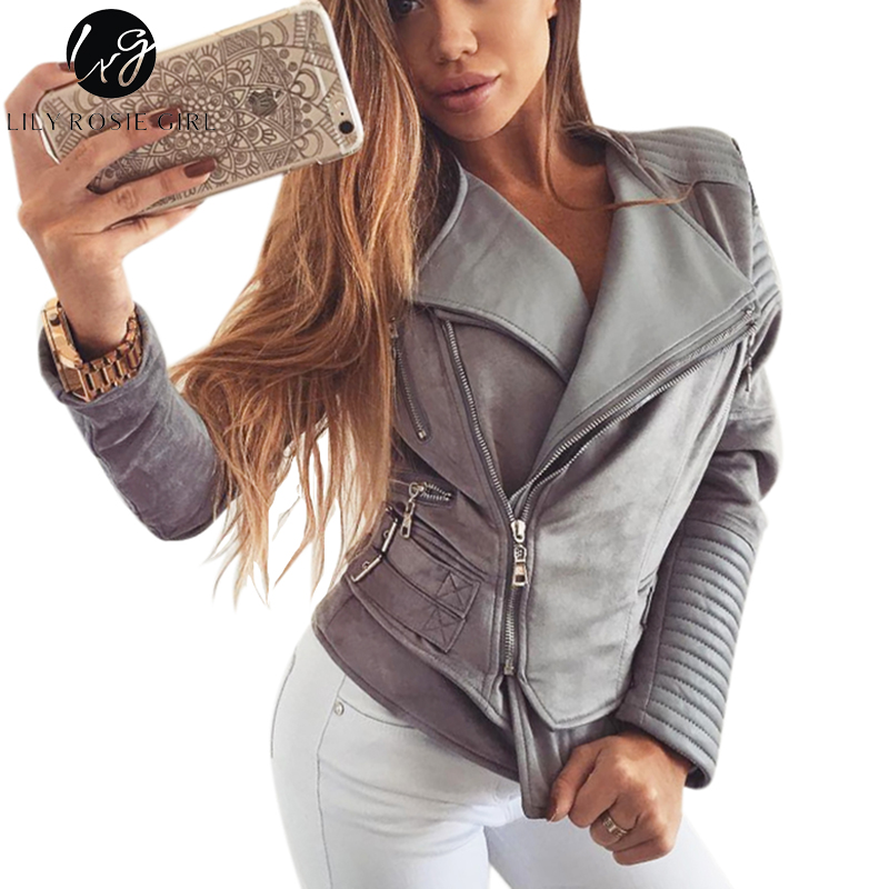 Lily Rosie Girl Gray Patchwork Casual Coats Zipper Faux Leather Suede Basic Jacket Autumn Winter Women 2017 Side Buckles Outwear