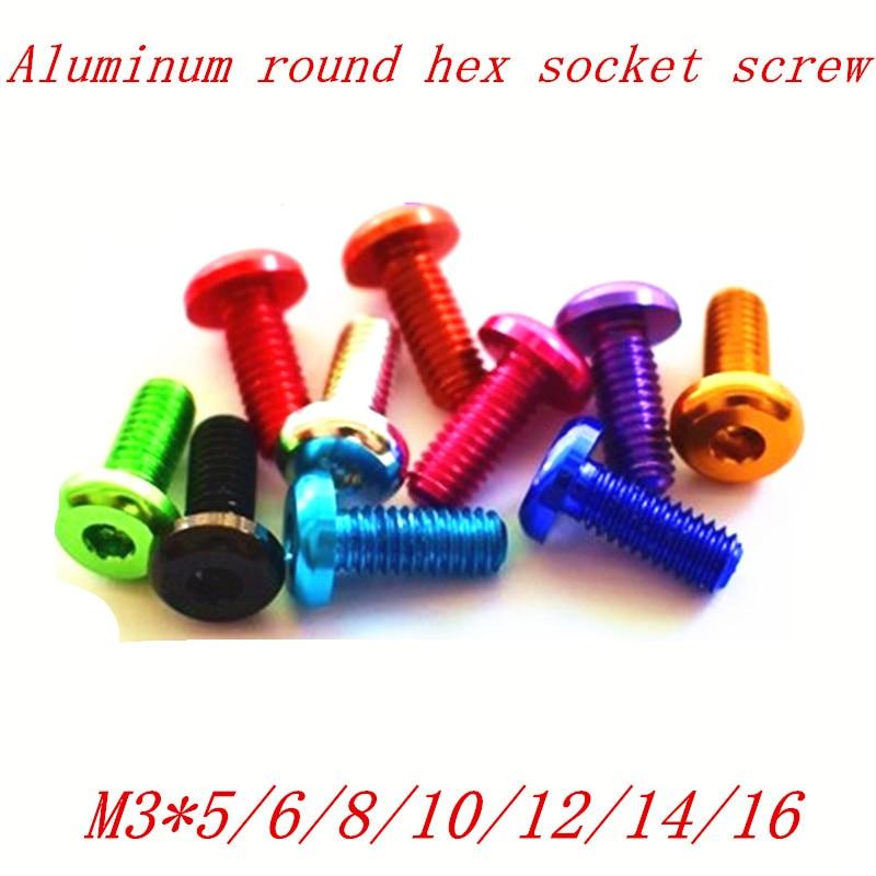 10pcs/lot M3*5/6/8/10/12/14/16 aluminum anodized hex socket button head screw 50pcs lot iso 7380 m3 x 8 titanium button head hex socket screw