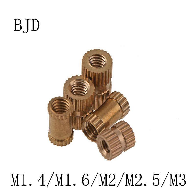 300ชิ้นM1.4 M1.6 M2 M2.5 M3ทองแดงแทรกทองเหลืองคู่ผ่านทำเป็นสันอ่อนนุชฝังF Astenerทองแดงฝังตัว