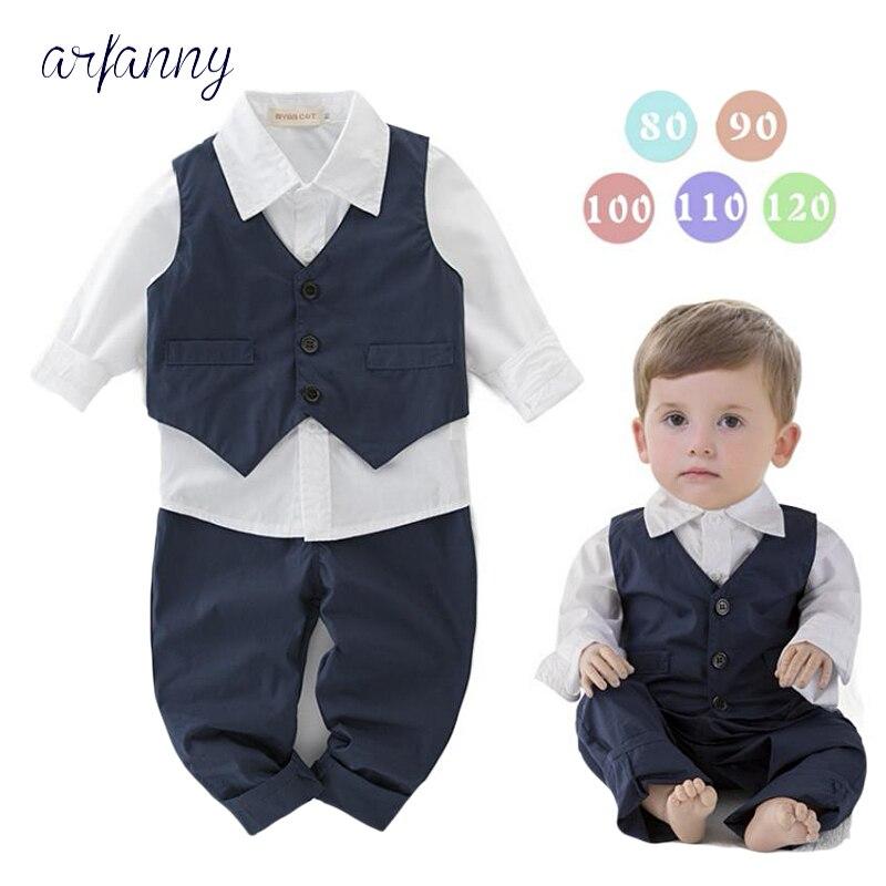 ARFANNY Baby Boys Clothes Fashion clothing 1 2 3 4 years boy Suit Gentleman Bow Tie shirt +vest + pants 3 piece set newborn