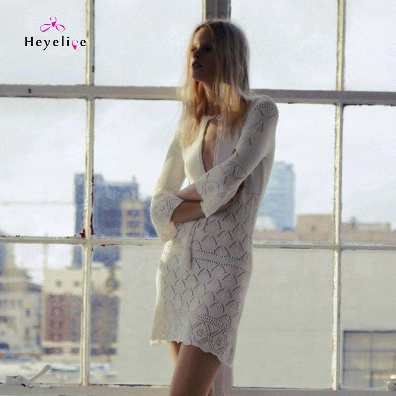 Sexy Blanc Crochet Bikinis Cover-Up Haute Qualité Tricoté D'été Femmes Robes Haute Col Ouvert Avant Maillots De Bain Couverture de Plage robes