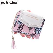 2017 Hot Top Quality Womens Wallet PU Leather Flower Tassels Vintage Women's Money Bag Card Holder Bifold Female Wallets Purse
