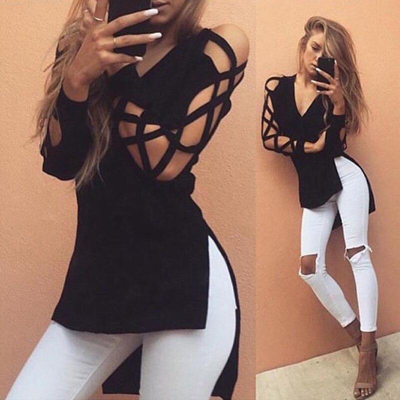 Sexy Deep V-neck   Blouse     Shirt   Lace Up irregular Black Tops Women Street Fashion Top