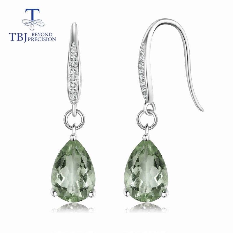 TBJ Hot sale 6ct natural green amethyst quartz gemstone Dangle hook Earrings Pure 925 Sterling Silver