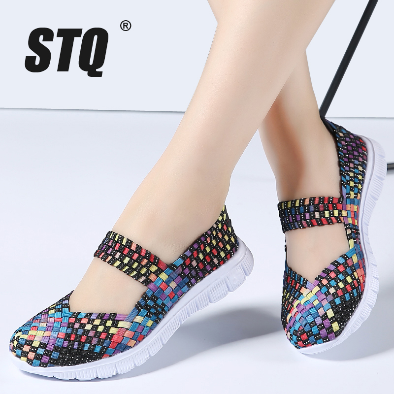 STQ 2020 Summer Women Flats Shoes Women Woven Shoes Flat Casual Shoes Flip Flops Female Multi Colors Loafers Ladies Shoes 577