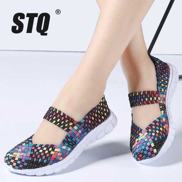 STQ zapatos planos tejidos para mujer, chanclas planas, multicolor, para verano, 2020