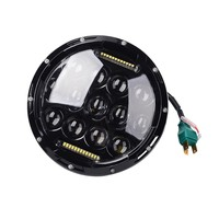 1pcs 7 Inch Round Motorcycle Headlights 75W LED Headlamp High Low Beam H4 Motorbike Headlight 12v
