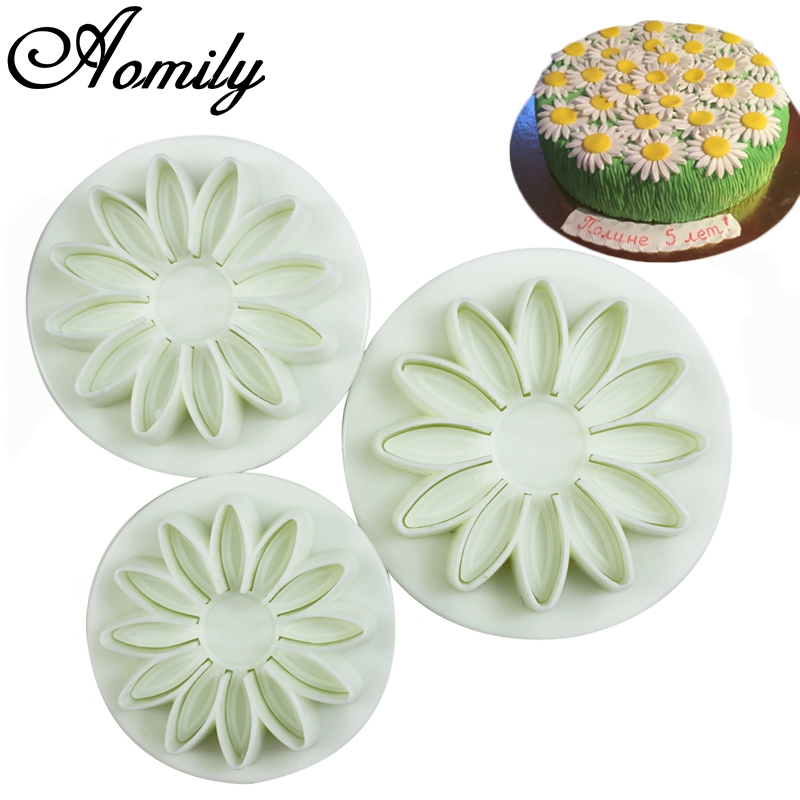 Aomily 3pcs/Set Sunflowers 3D Cookies Fondant Cutter Homemade Cake Pastry DIY Baking Embossed Chocolate Biscuit Mold Decorating