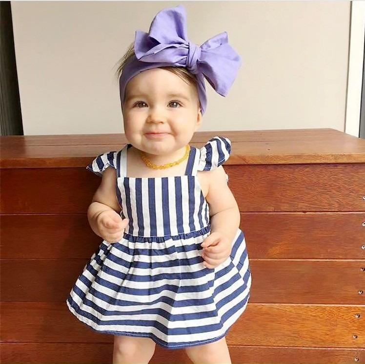 0-24 M Newborn Baby Dziewczyny Odzież Dla Niemowląt Dzieci Letnie Sukienki W Paski Top + Figi 2 sztuk Outfit Malucha dzieci Odzież Ustaw 6