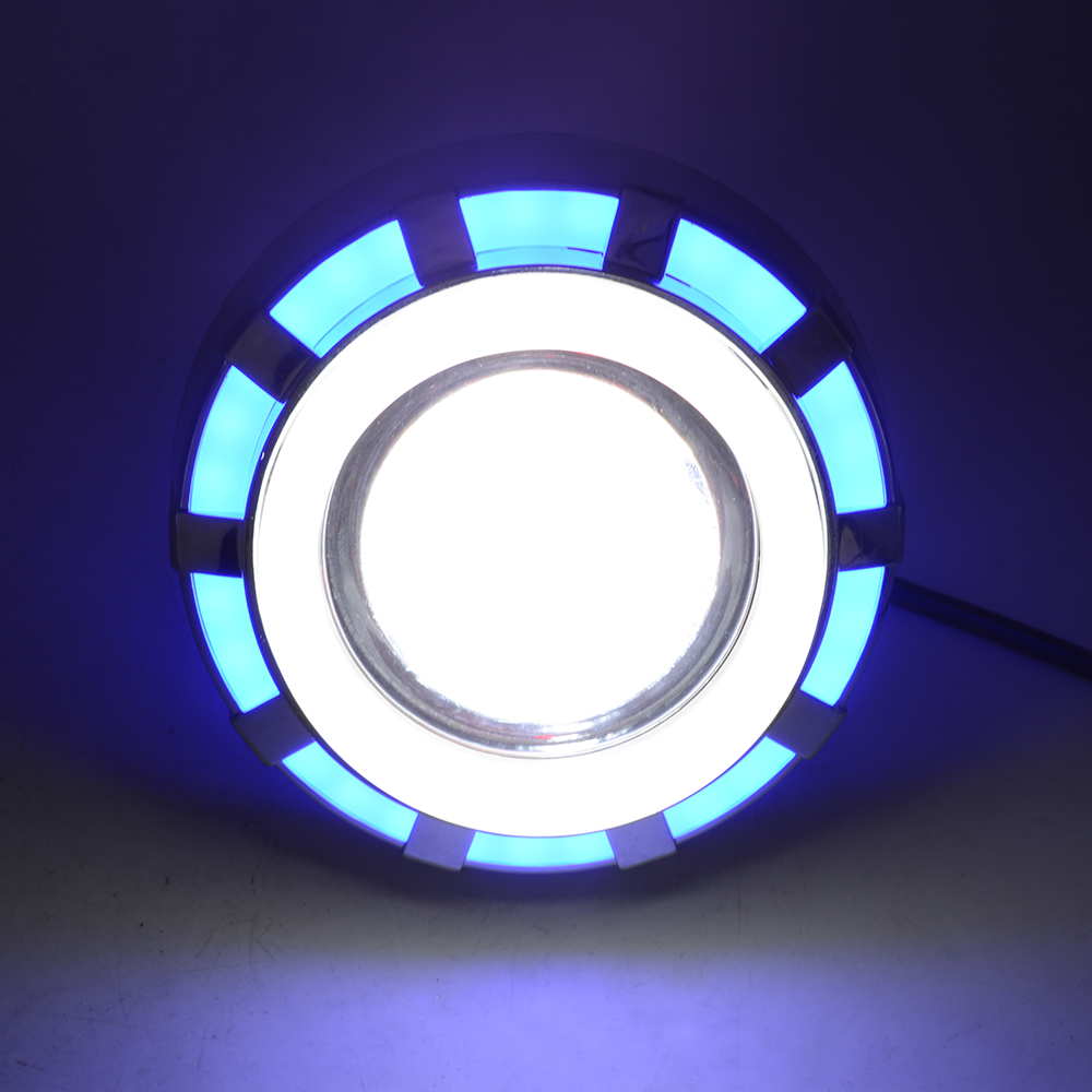 Motorcycle Projector Headlight Double Angel Devil Eye Led Driving Light With Blue And White 30W 1200Lm 200000H(Blue And White)