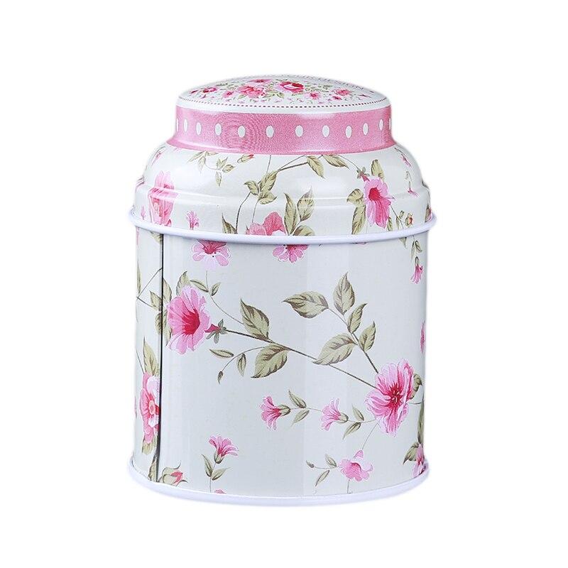 Кухонный домашний декор, металлический Цветочный кофе, чай, сахар, контейнер для конфет, банка, жестяная коробка для сортировки, аксессуары для дома - Цвет: creamy white