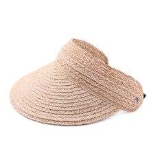 SQTEIO 夏ラフィットわら hatHigh 品質バイザー折りたたみビーチ旅行空のシルクハット女性キャップ太陽の帽子